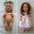 Oprava staré panenky- nástřik, nové vlasy, oprava očí