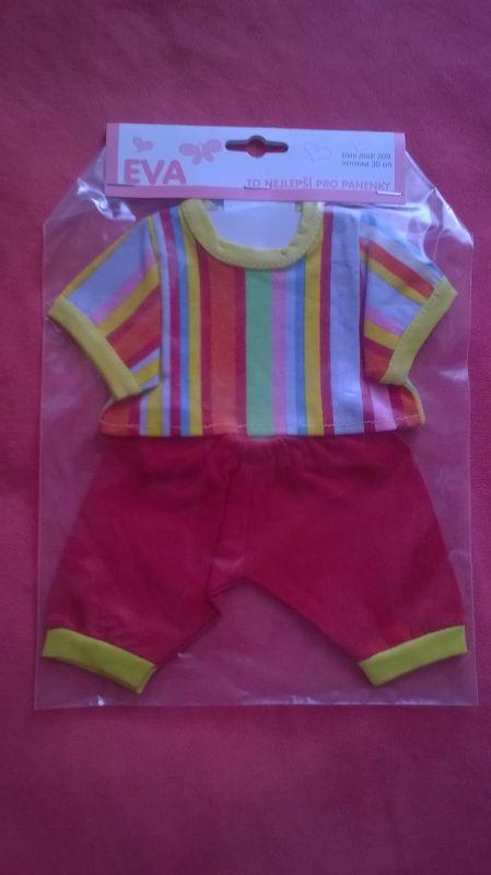 Tričko, kalhoty pro My Little Baby Born a 30 cm - Tričko, kalhoty červeno žlutá proužek