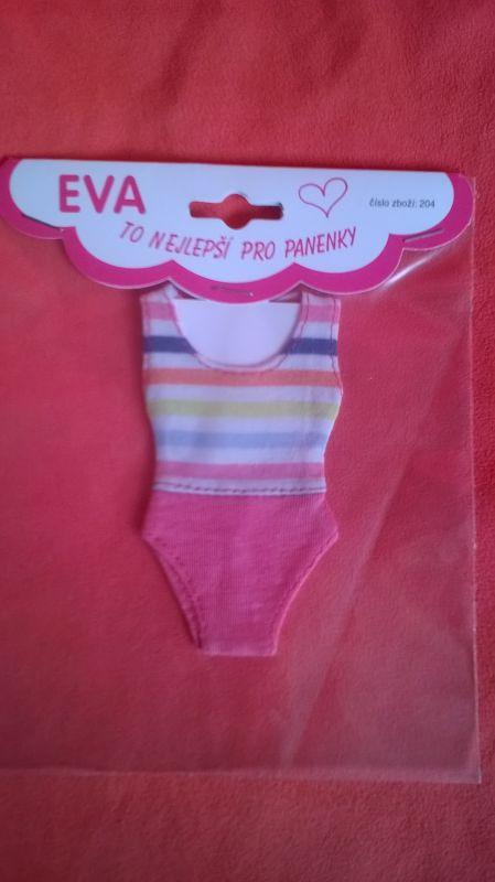 Plavky pro BARBIE - Plavky růžová barevné proužky