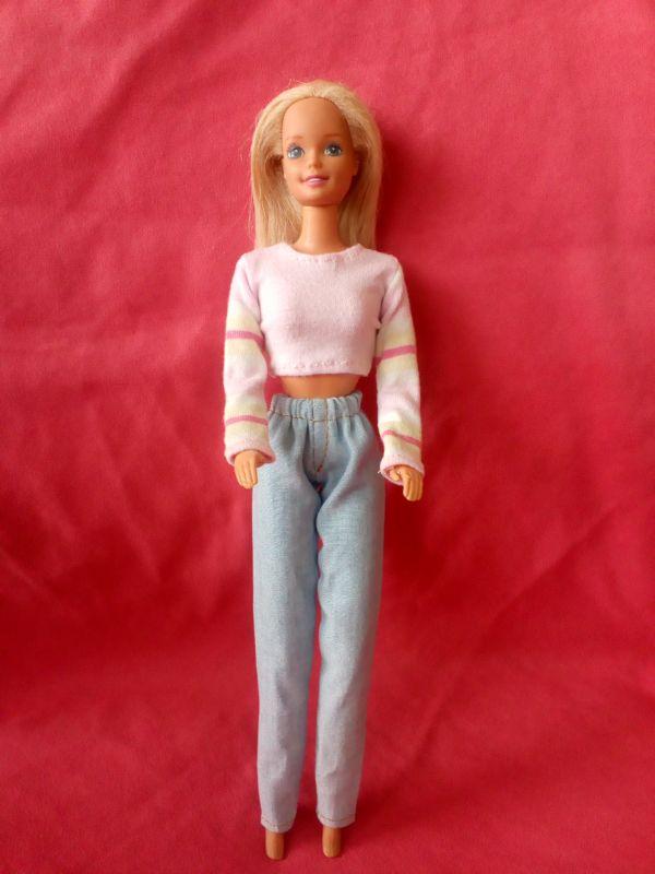 Triko, džíny pro BARBIE - Triko, džíny pro BARBIE růžovo bílá
